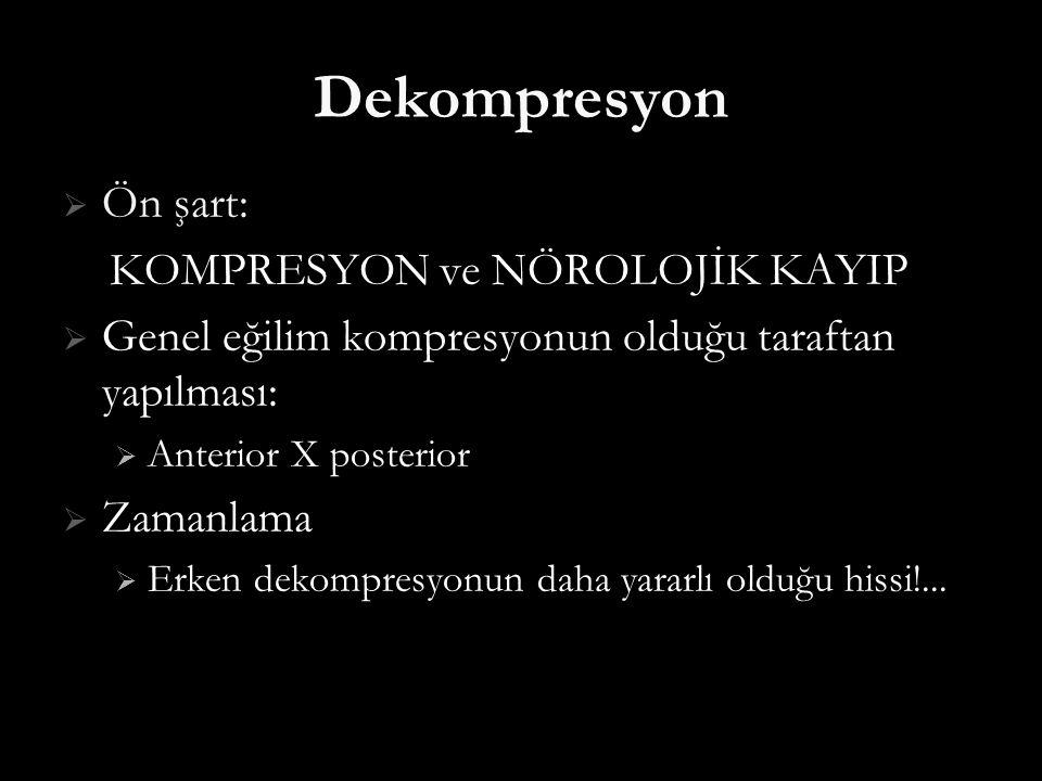 Dekompresyon Ön şart: KOMPRESYON ve NÖROLOJİK KAYIP