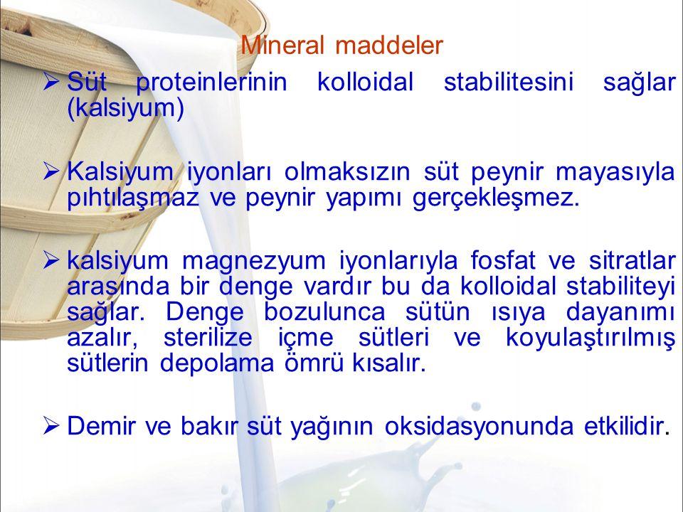 Mineral maddeler Süt proteinlerinin kolloidal stabilitesini sağlar (kalsiyum)