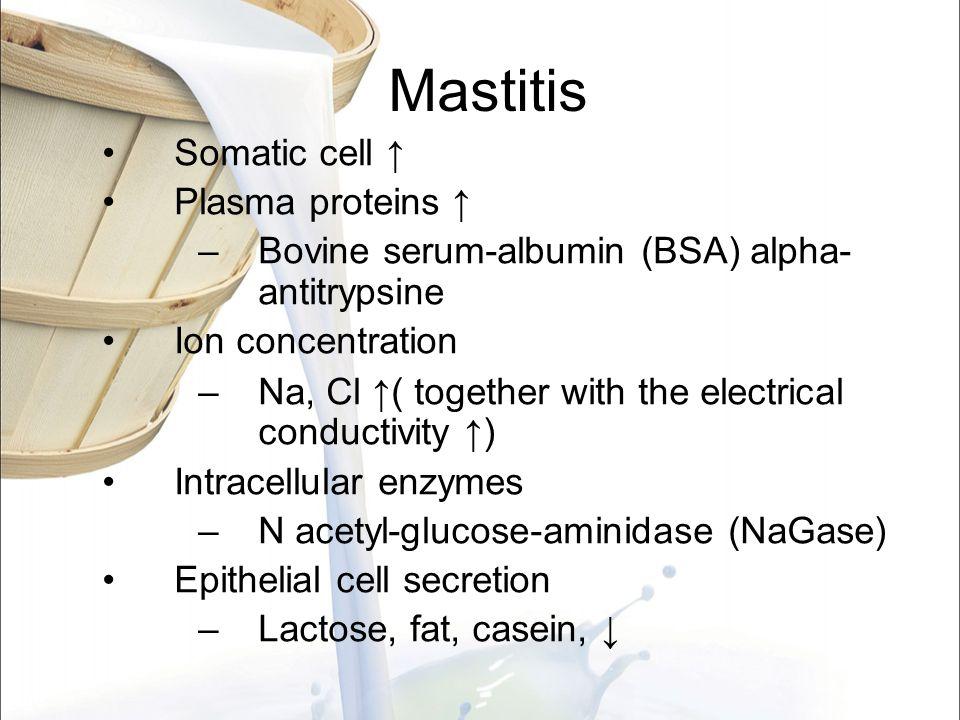 Mastitis Somatic cell ↑ Plasma proteins ↑