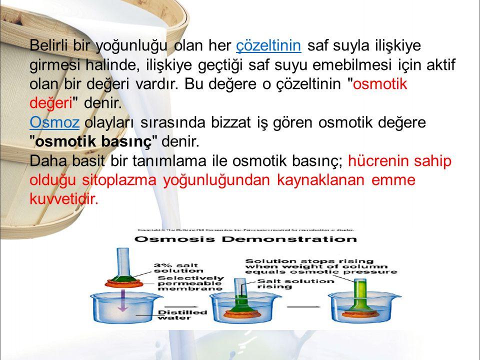 Belirli bir yoğunluğu olan her çözeltinin saf suyla ilişkiye girmesi halinde, ilişkiye geçtiği saf suyu emebilmesi için aktif olan bir değeri vardır. Bu değere o çözeltinin osmotik değeri denir.