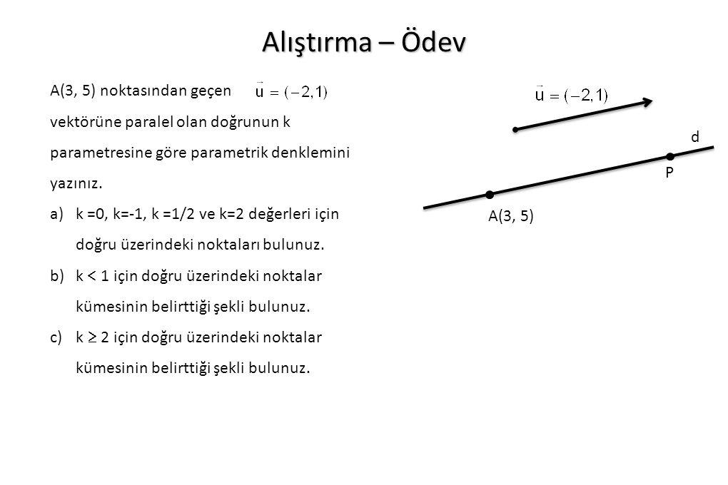 Alıştırma – Ödev A(3, 5) noktasından geçen vektörüne paralel olan doğrunun k parametresine göre parametrik denklemini yazınız.