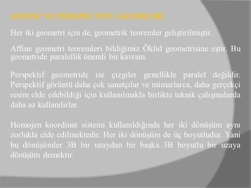 AFFINE VE PERSPECTIVE GEOMETRİ