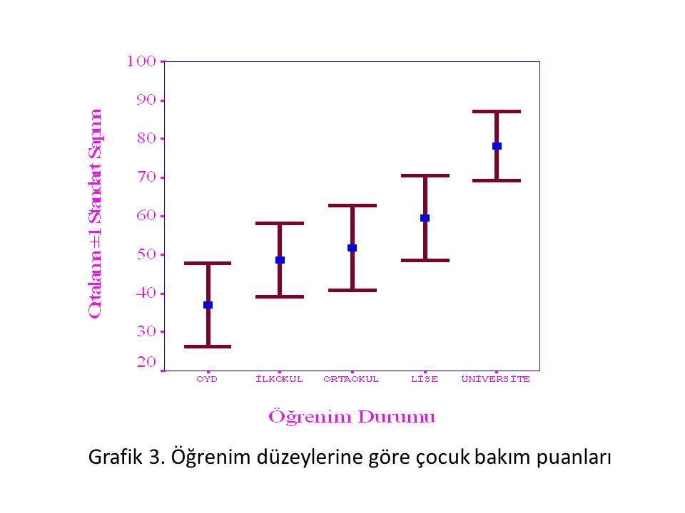 Grafik 3. Öğrenim düzeylerine göre çocuk bakım puanları