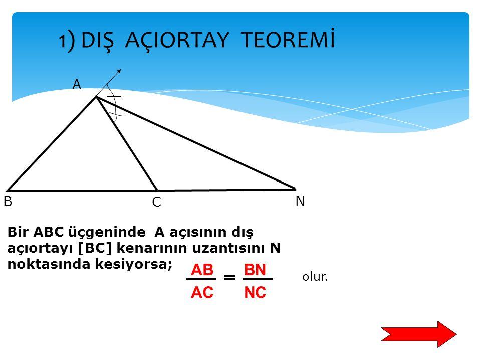 1) DIŞ AÇIORTAY TEOREMİ AB AC BN NC A B C N