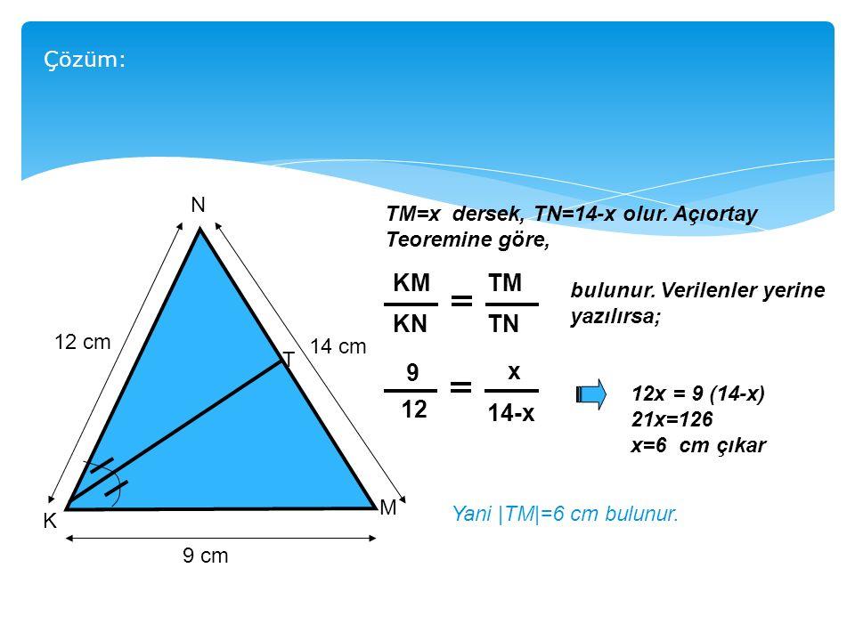 KM KN TM TN 9 12 x 14-x Çözüm: N TM=x dersek, TN=14-x olur. Açıortay