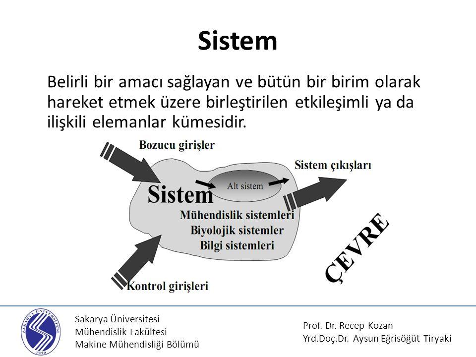 Sistem Belirli bir amacı sağlayan ve bütün bir birim olarak hareket etmek üzere birleştirilen etkileşimli ya da ilişkili elemanlar kümesidir.