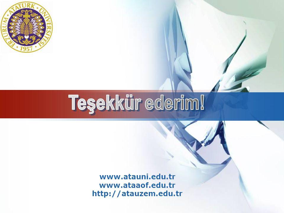 Teşekkür ederim! www.atauni.edu.tr www.ataaof.edu.tr