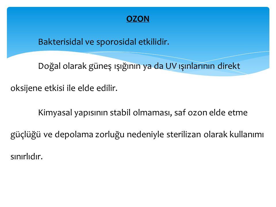 OZON Bakterisidal ve sporosidal etkilidir