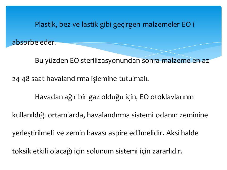 Plastik, bez ve lastik gibi geçirgen malzemeler EO i absorbe eder