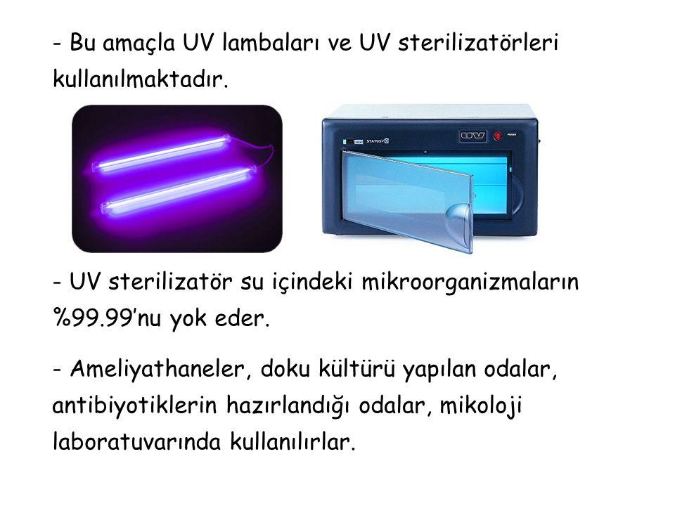 - Bu amaçla UV lambaları ve UV sterilizatörleri kullanılmaktadır.