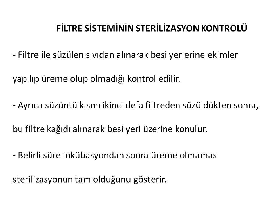 FİLTRE SİSTEMİNİN STERİLİZASYON KONTROLÜ