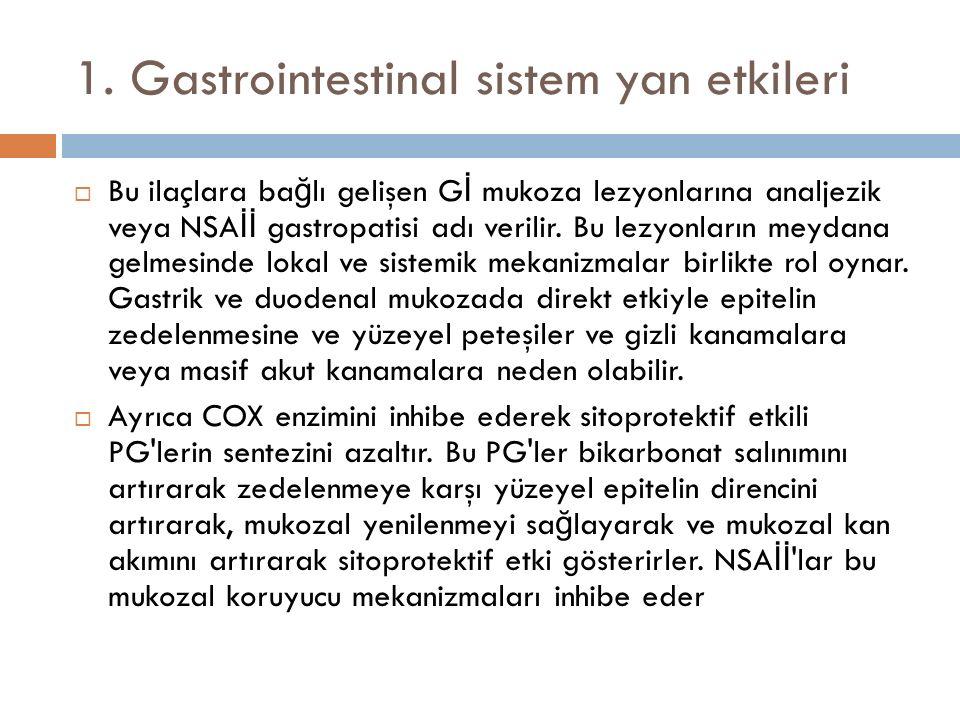 1. Gastrointestinal sistem yan etkileri