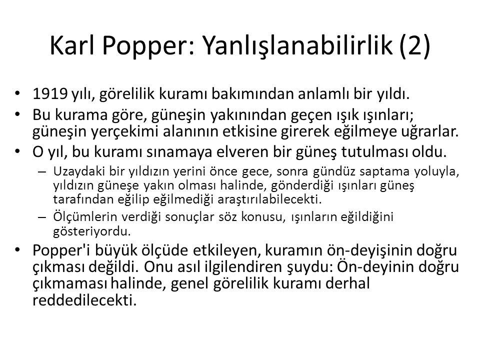 Karl Popper: Yanlışlanabilirlik (2)