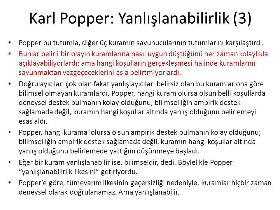 Karl Popper: Yanlışlanabilirlik (3)