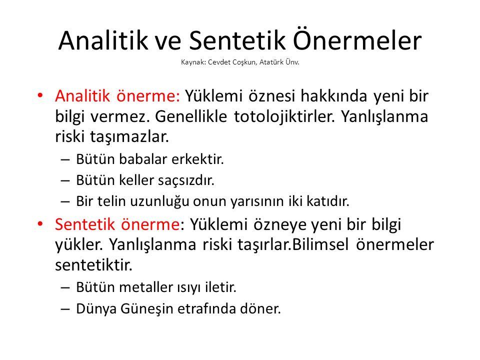 Analitik ve Sentetik Önermeler Kaynak: Cevdet Coşkun, Atatürk Ünv.
