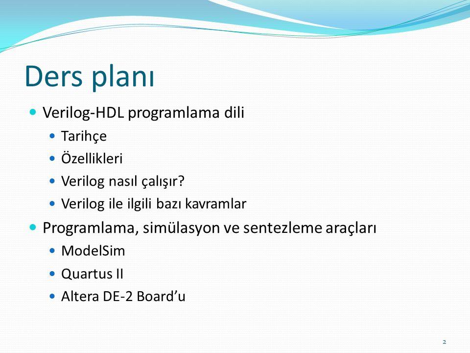 Ders planı Verilog-HDL programlama dili