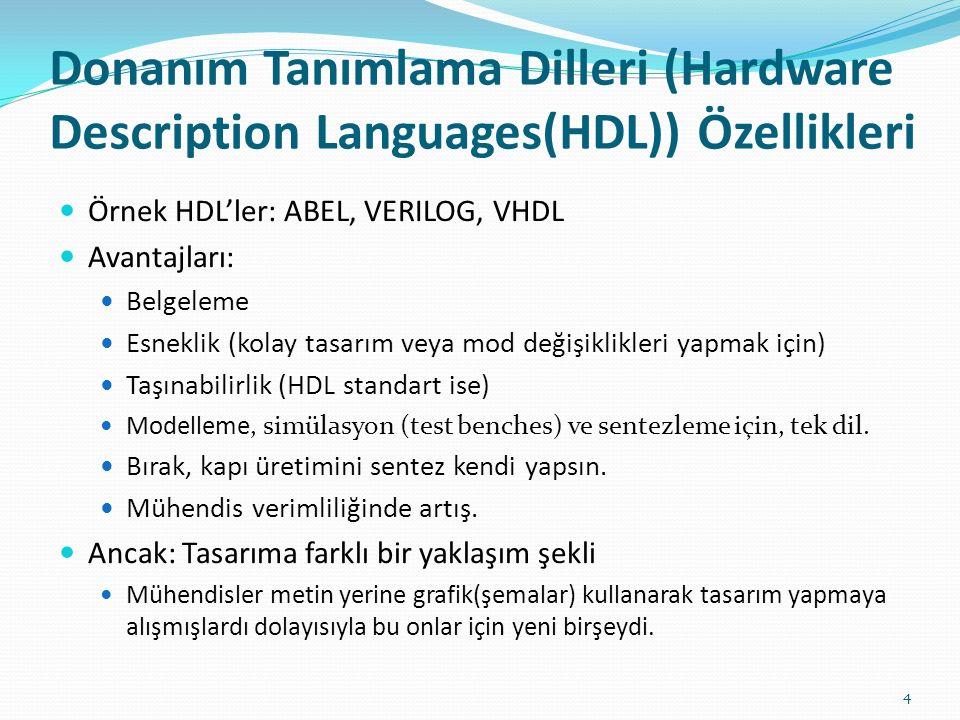 Donanım Tanımlama Dilleri (Hardware Description Languages(HDL)) Özellikleri