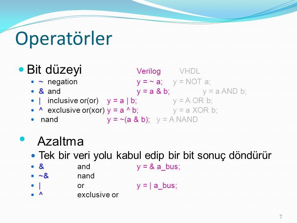 Operatörler Bit düzeyi Verilog VHDL Azaltma