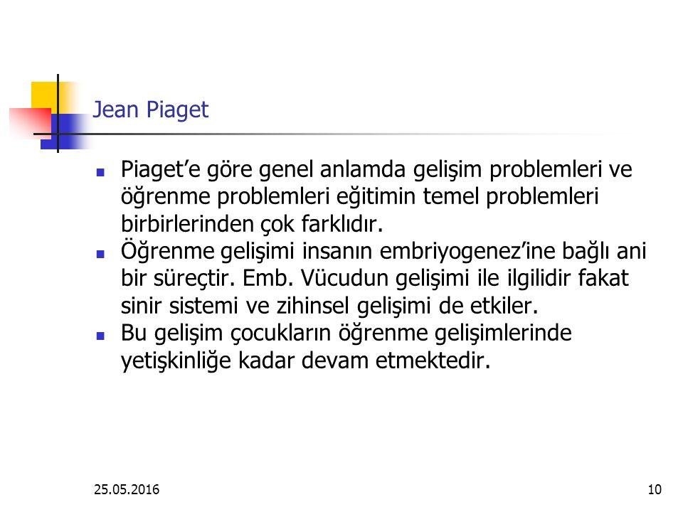 Jean Piaget Piaget'e göre genel anlamda gelişim problemleri ve öğrenme problemleri eğitimin temel problemleri birbirlerinden çok farklıdır.