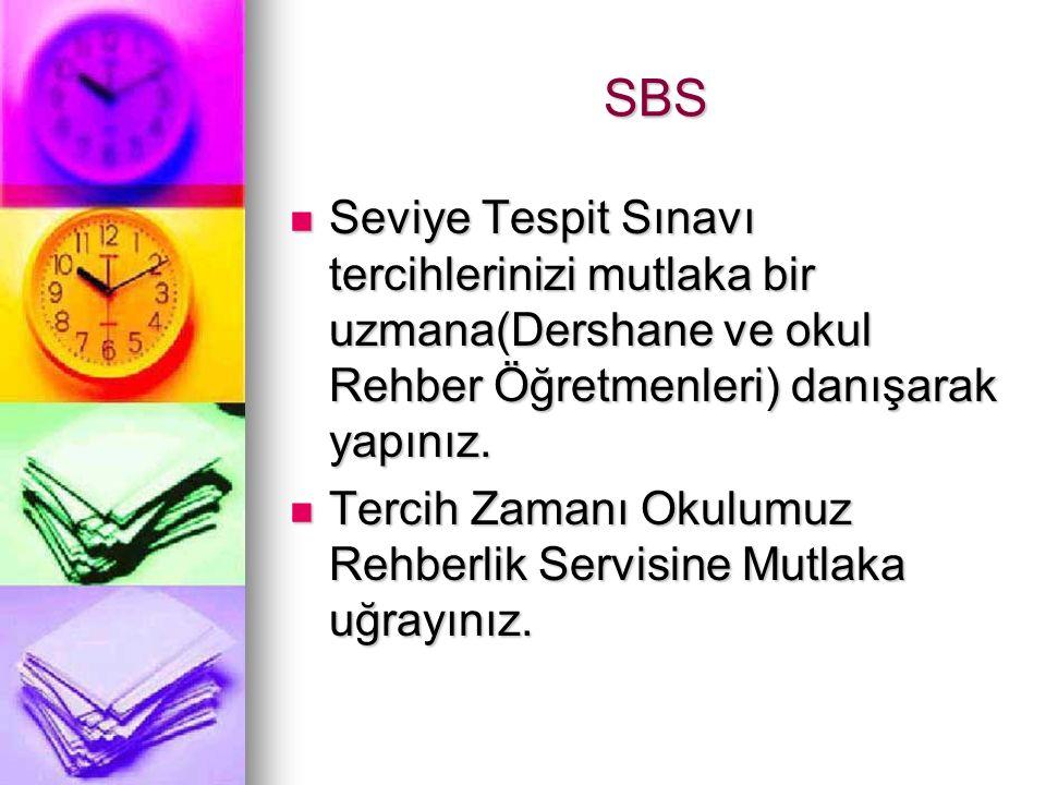 SBS Seviye Tespit Sınavı tercihlerinizi mutlaka bir uzmana(Dershane ve okul Rehber Öğretmenleri) danışarak yapınız.