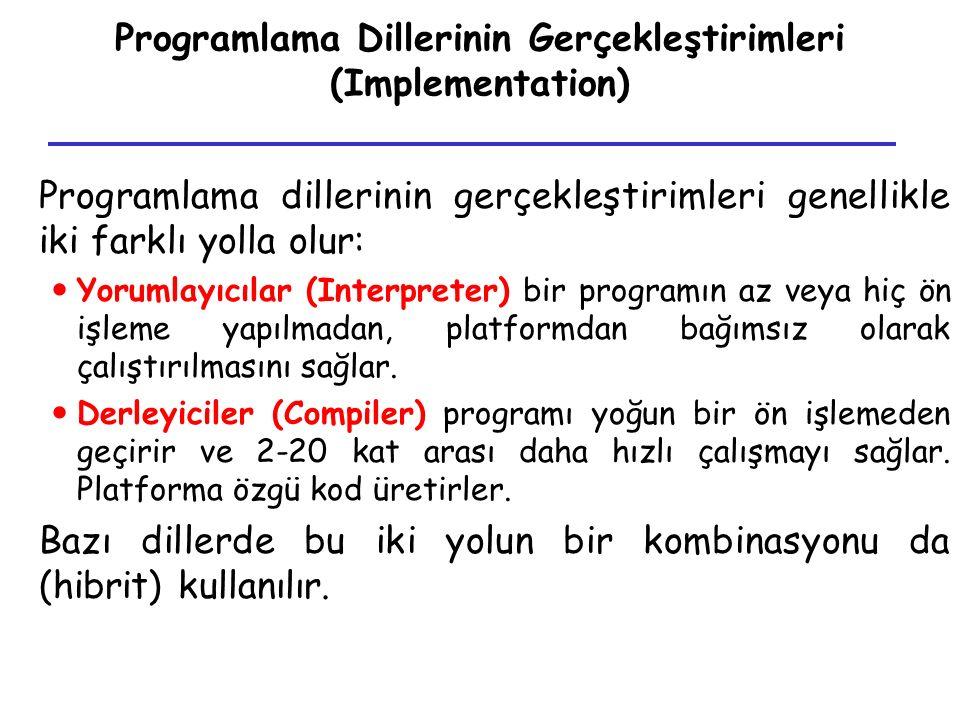 Programlama Dillerinin Gerçekleştirimleri (Implementation)