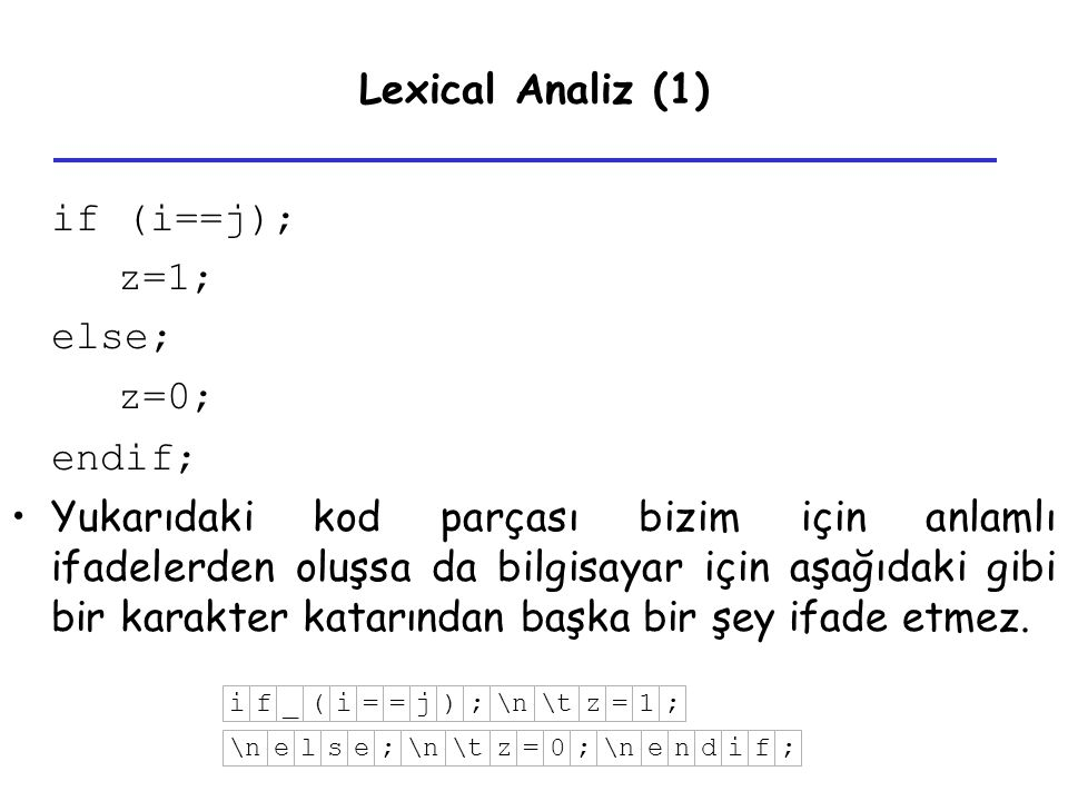Lexical Analiz (1) if (i==j); z=1; else; z=0; endif;