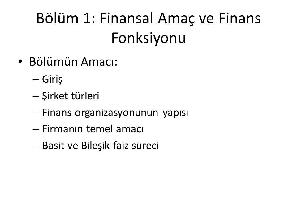Bölüm 1: Finansal Amaç ve Finans Fonksiyonu