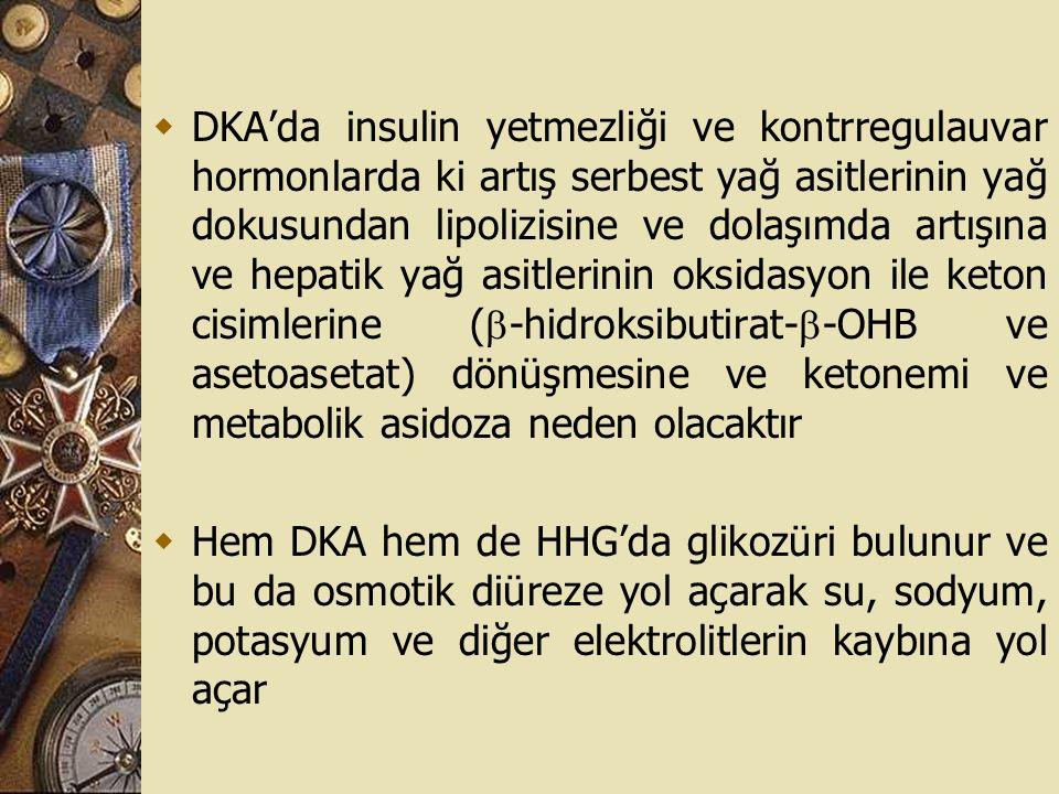 DKA'da insulin yetmezliği ve kontrregulauvar hormonlarda ki artış serbest yağ asitlerinin yağ dokusundan lipolizisine ve dolaşımda artışına ve hepatik yağ asitlerinin oksidasyon ile keton cisimlerine (-hidroksibutirat--OHB ve asetoasetat) dönüşmesine ve ketonemi ve metabolik asidoza neden olacaktır
