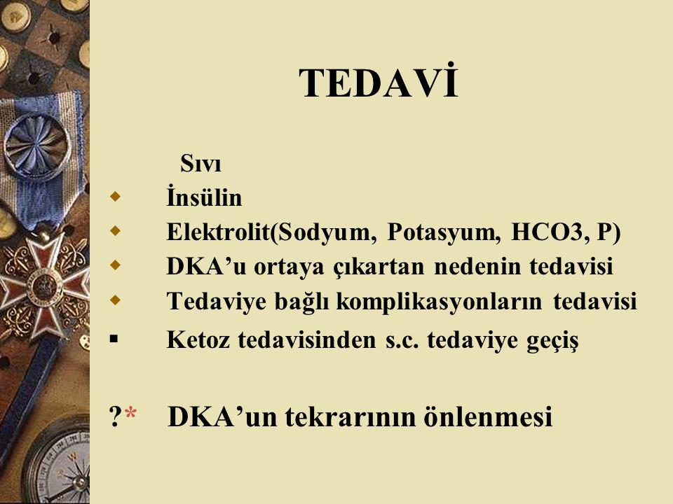 TEDAVİ * DKA'un tekrarının önlenmesi Sıvı İnsülin