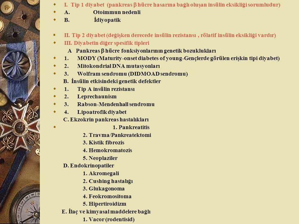 I. Tip 1 diyabet (pankreas  hücre hasarına bağlı oluşan insülin eksikliği sorumludur)