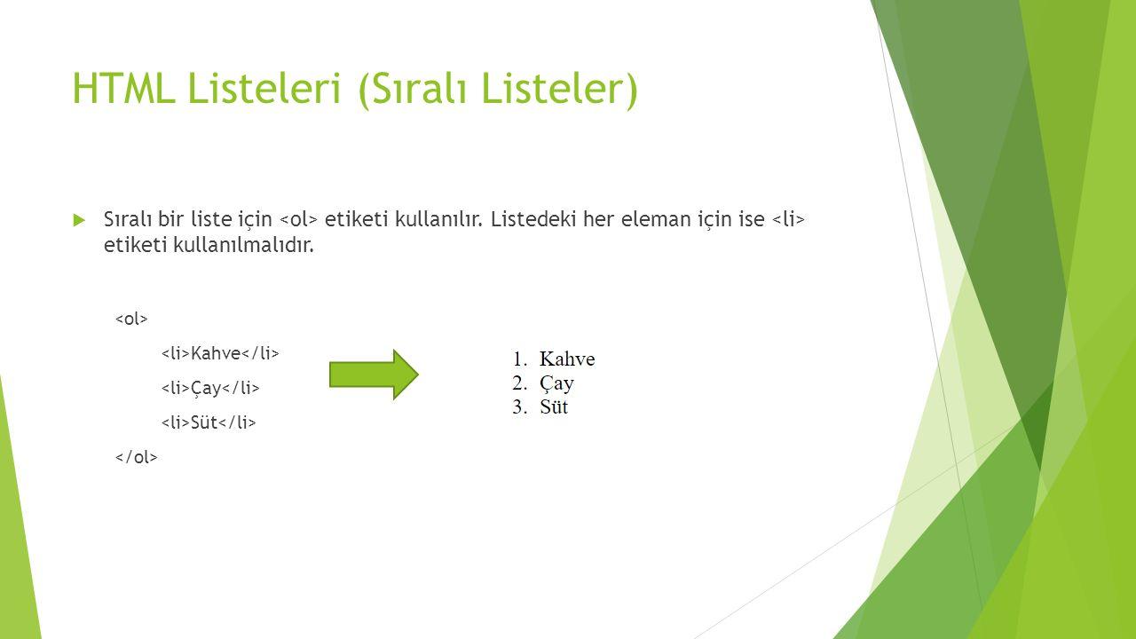 HTML Listeleri (Sıralı Listeler)
