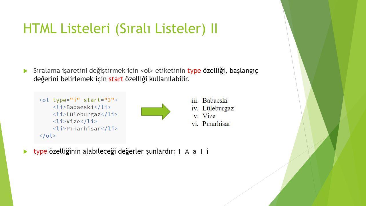 HTML Listeleri (Sıralı Listeler) II