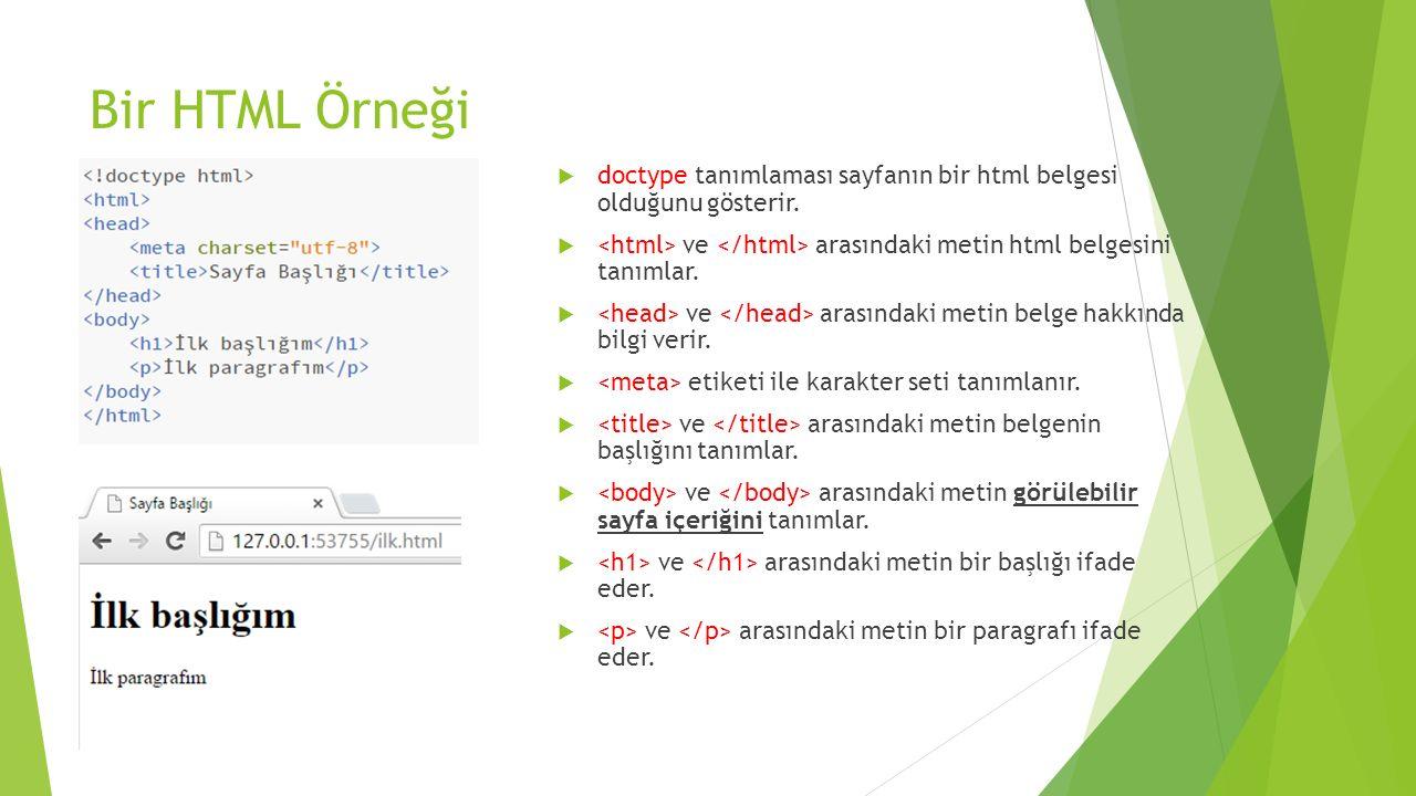 Bir HTML Örneği doctype tanımlaması sayfanın bir html belgesi olduğunu gösterir. <html> ve </html> arasındaki metin html belgesini tanımlar.