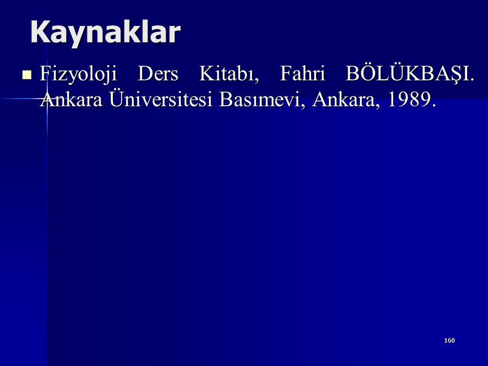 Kaynaklar Fizyoloji Ders Kitabı, Fahri BÖLÜKBAŞI. Ankara Üniversitesi Basımevi, Ankara, 1989.