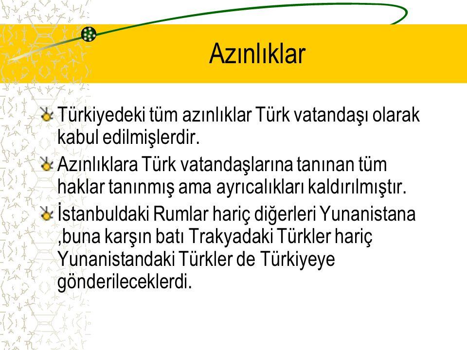 Azınlıklar Türkiyedeki tüm azınlıklar Türk vatandaşı olarak kabul edilmişlerdir.