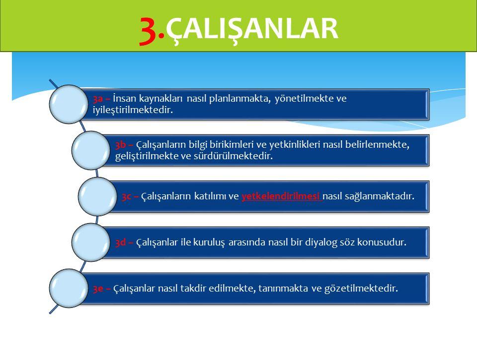 3.ÇALIŞANLAR 3a – İnsan kaynakları nasıl planlanmakta, yönetilmekte ve iyileştirilmektedir.
