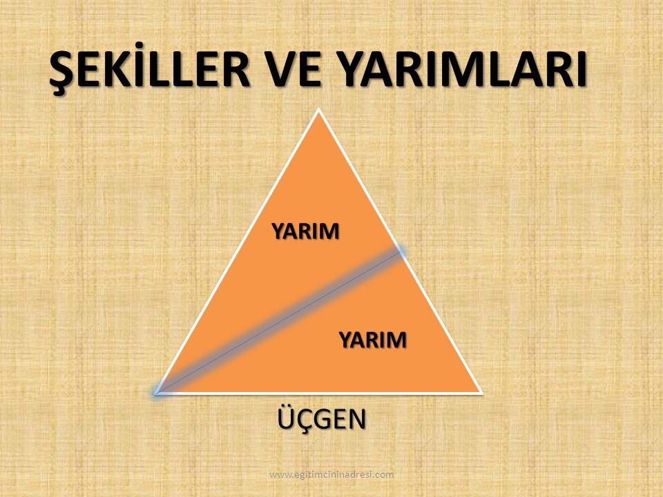 ŞEKİLLER VE YARIMLARI YARIM YARIM ÜÇGEN www.egitimcininadresi.com