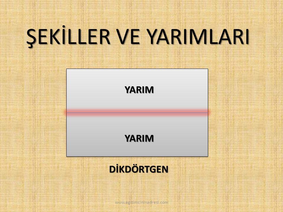 ŞEKİLLER VE YARIMLARI YARIM YARIM DİKDÖRTGEN www.egitimcininadresi.com