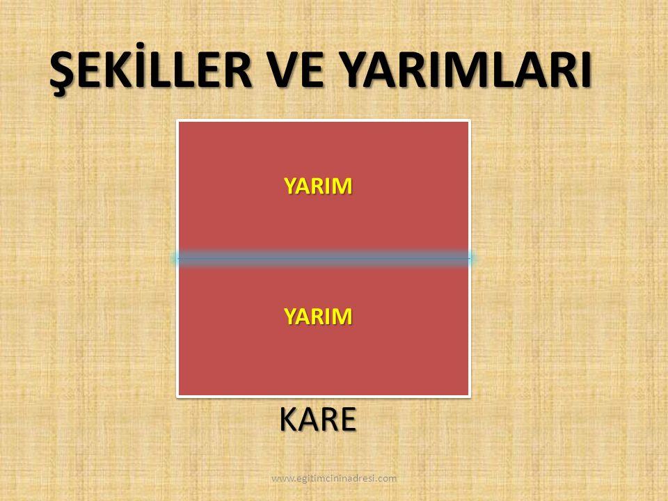 ŞEKİLLER VE YARIMLARI YARIM YARIM KARE www.egitimcininadresi.com
