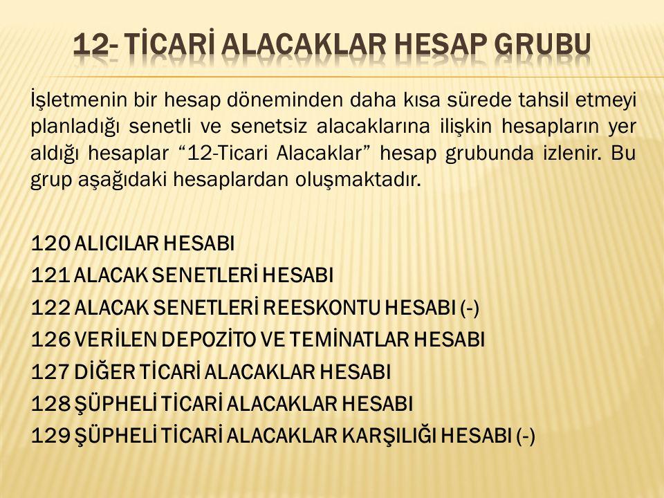 12- TİCARİ ALACAKLAR HESAP GRUBU