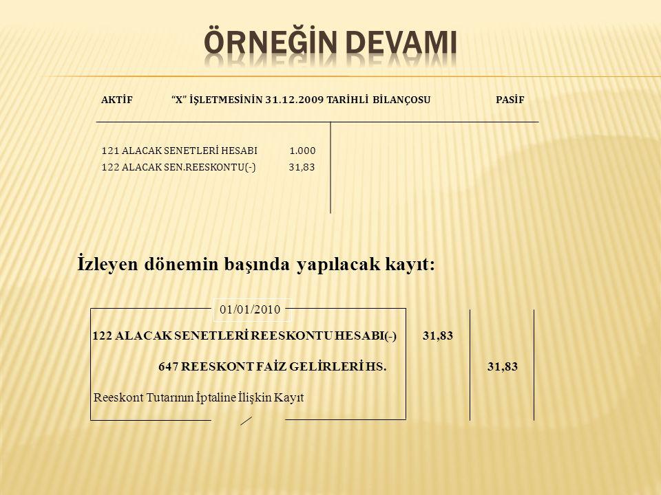 ÖrneğİN DEVAMI İzleyen dönemin başında yapılacak kayıt: 01/01/2010