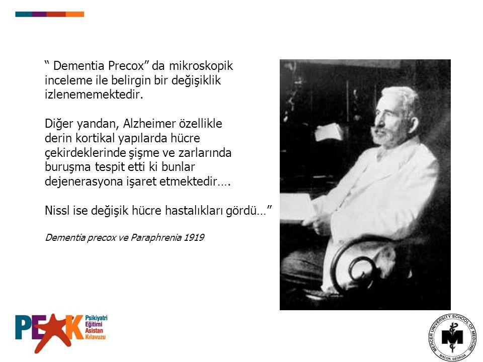 Dementia Precox da mikroskopik inceleme ile belirgin bir değişiklik