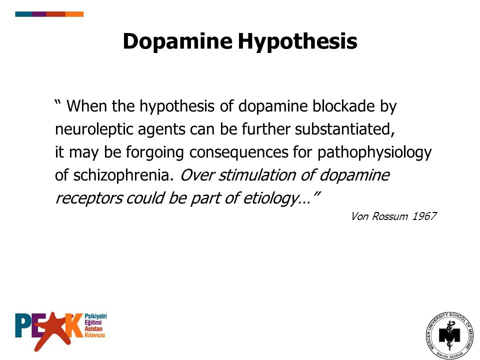 Dopamine Hypothesis When the hypothesis of dopamine blockade by