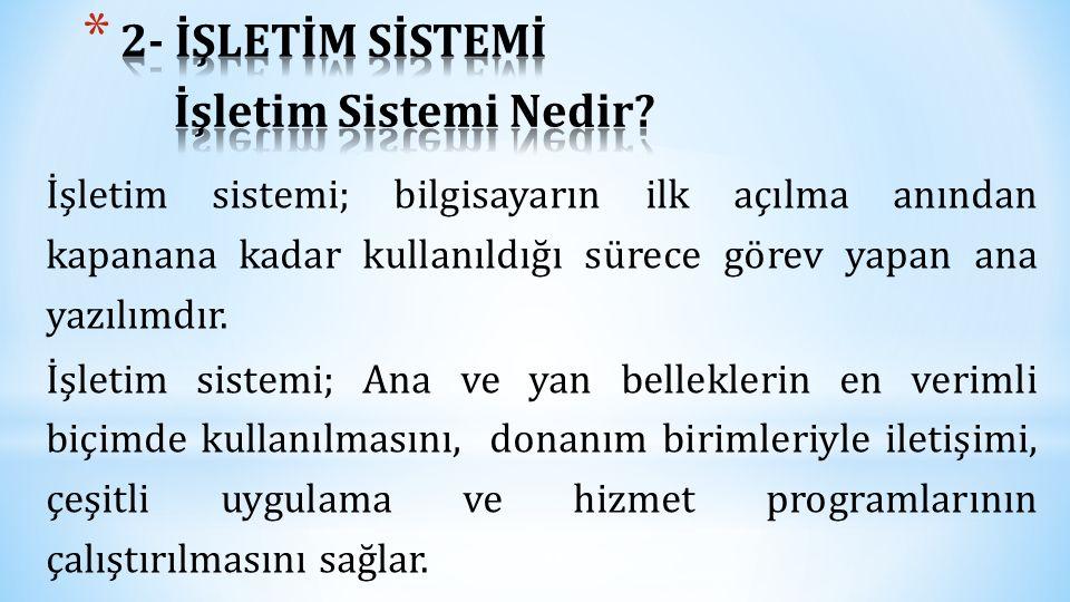 2- İŞLETİM SİSTEMİ İşletim Sistemi Nedir