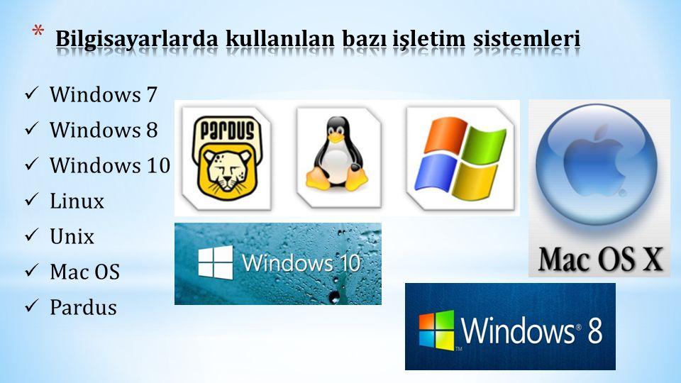 Bilgisayarlarda kullanılan bazı işletim sistemleri