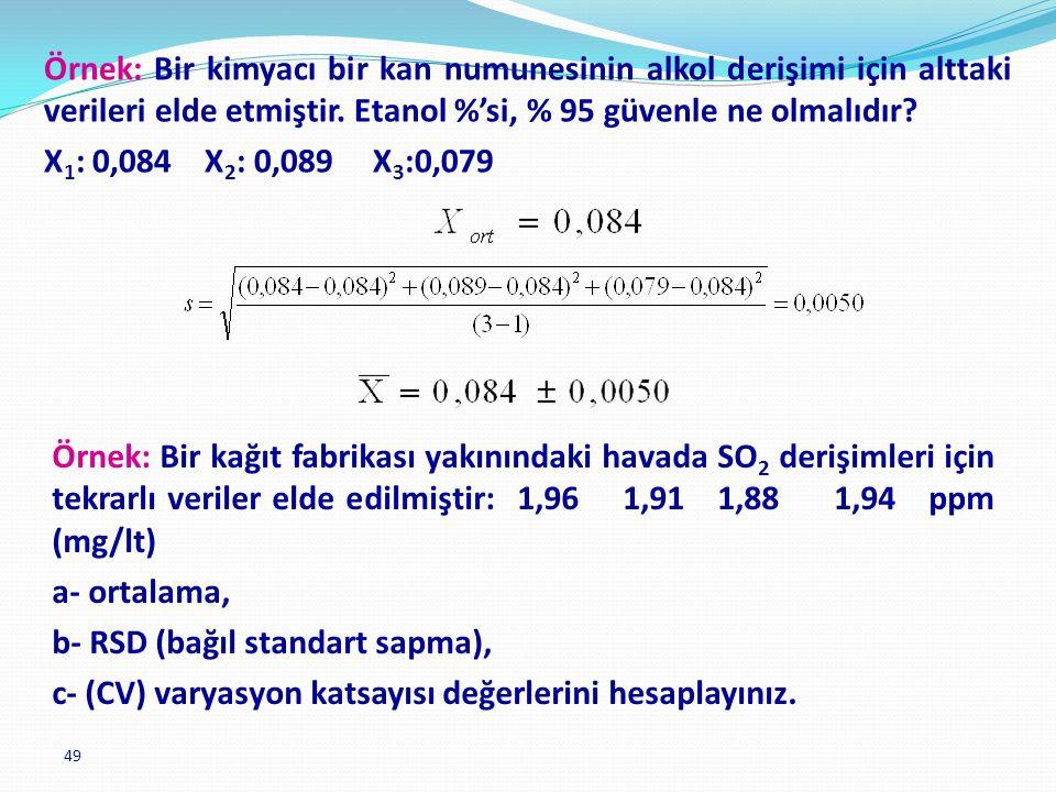 b- RSD (bağıl standart sapma),