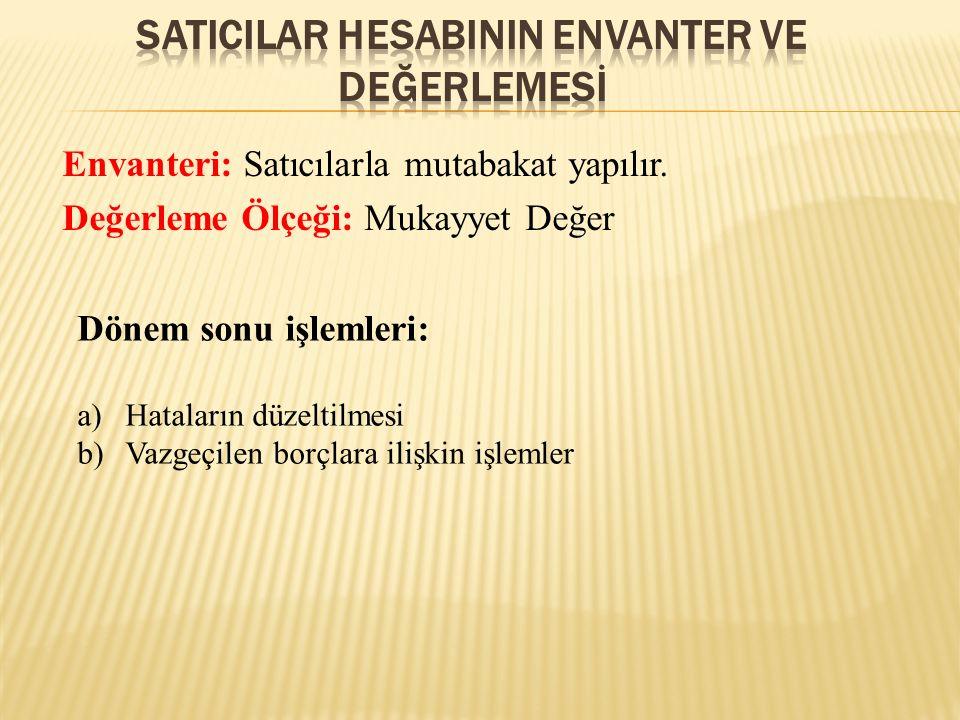 SATICILAR HESABININ ENVANTER VE DEĞERLEMESİ