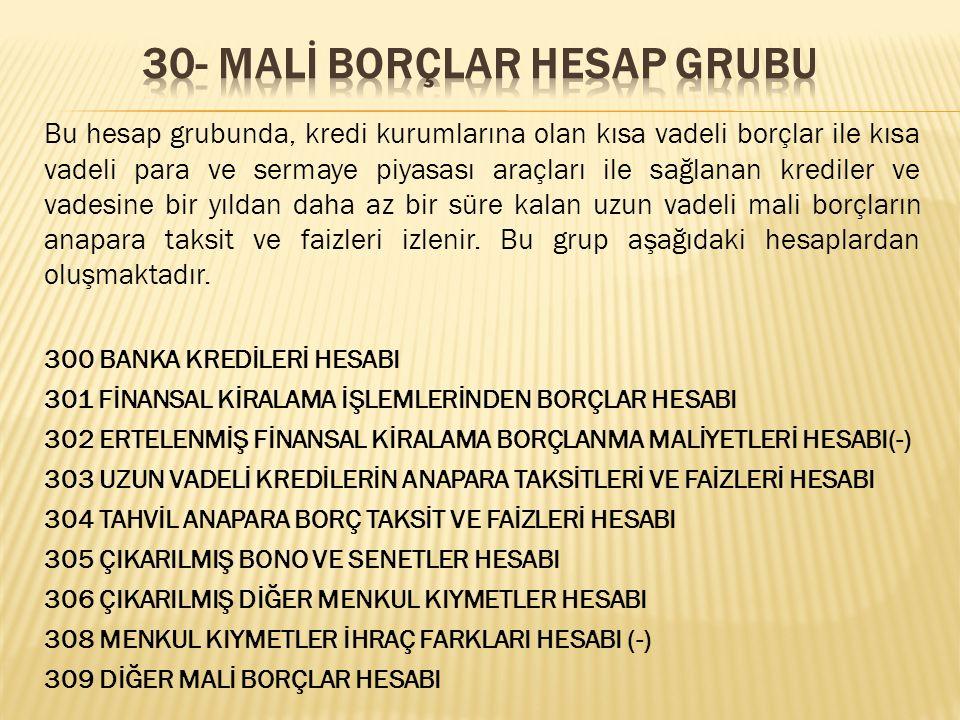 30- MALİ BORÇLAR HESAP GRUBU