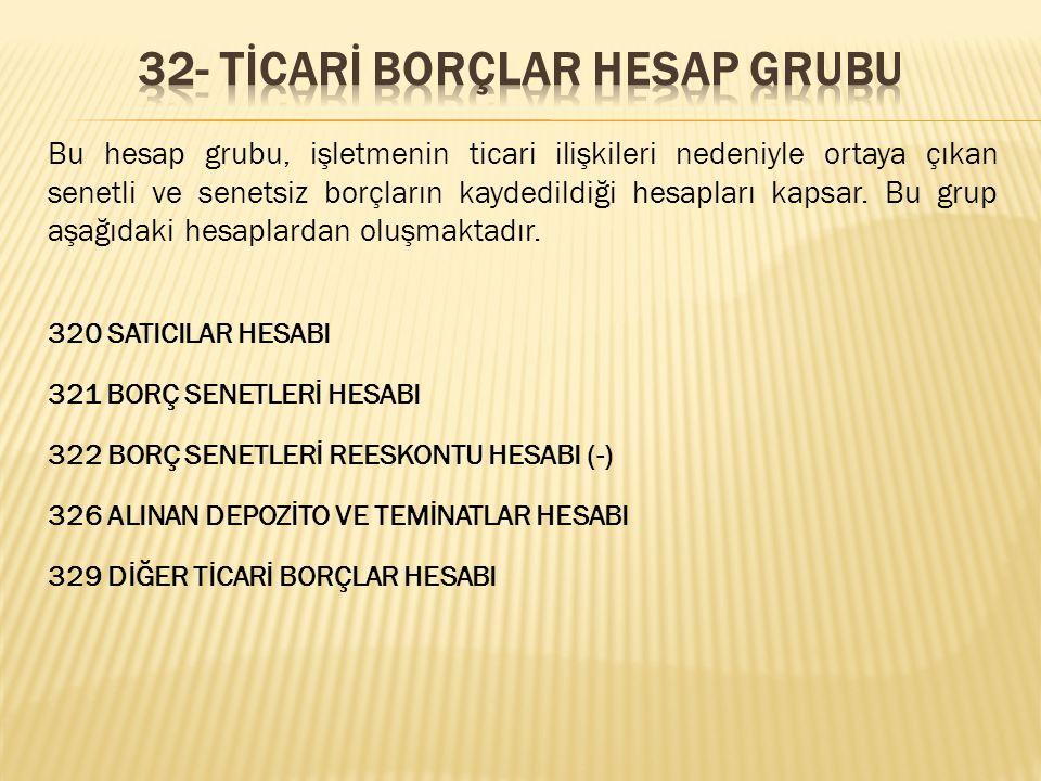 32- TİCARİ BORÇLAR HESAP GRUBU