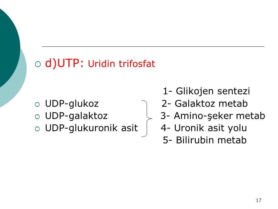 d)UTP: Uridin trifosfat